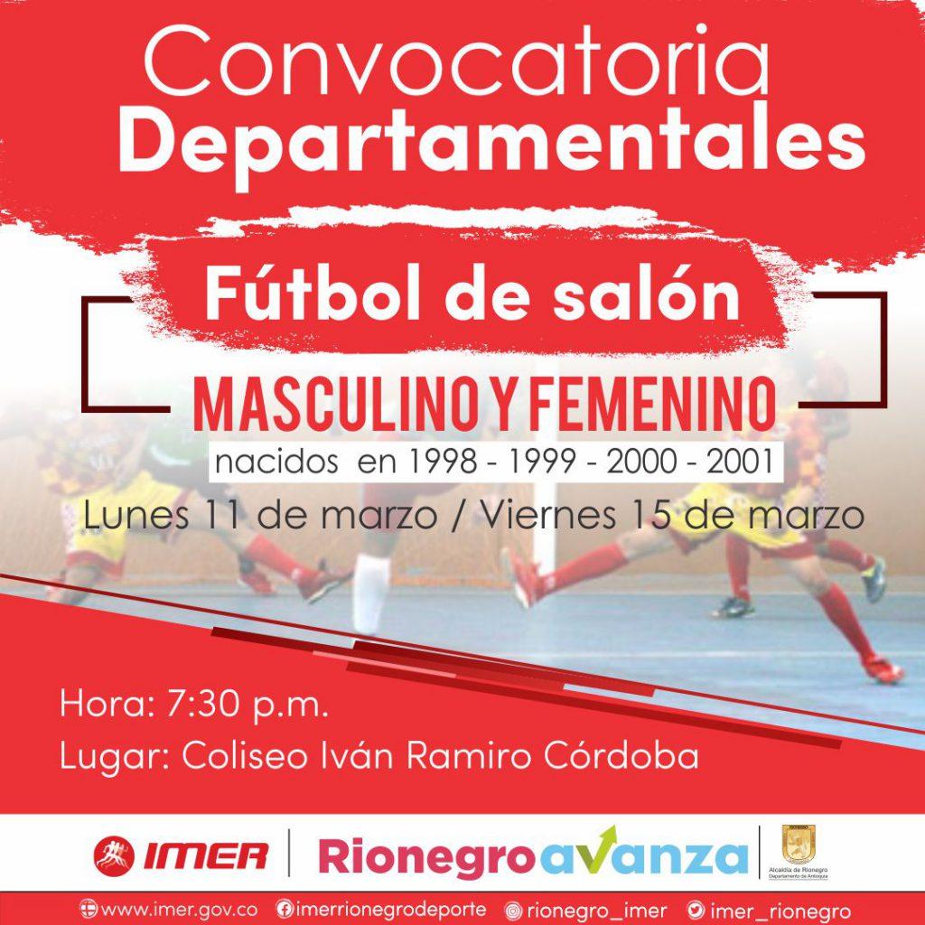 CONVOCATORIA PARA TORNEO DEPARTAMENTAL DE FÚTBOL DE SALÓN MASCULINO Y FEMENINO