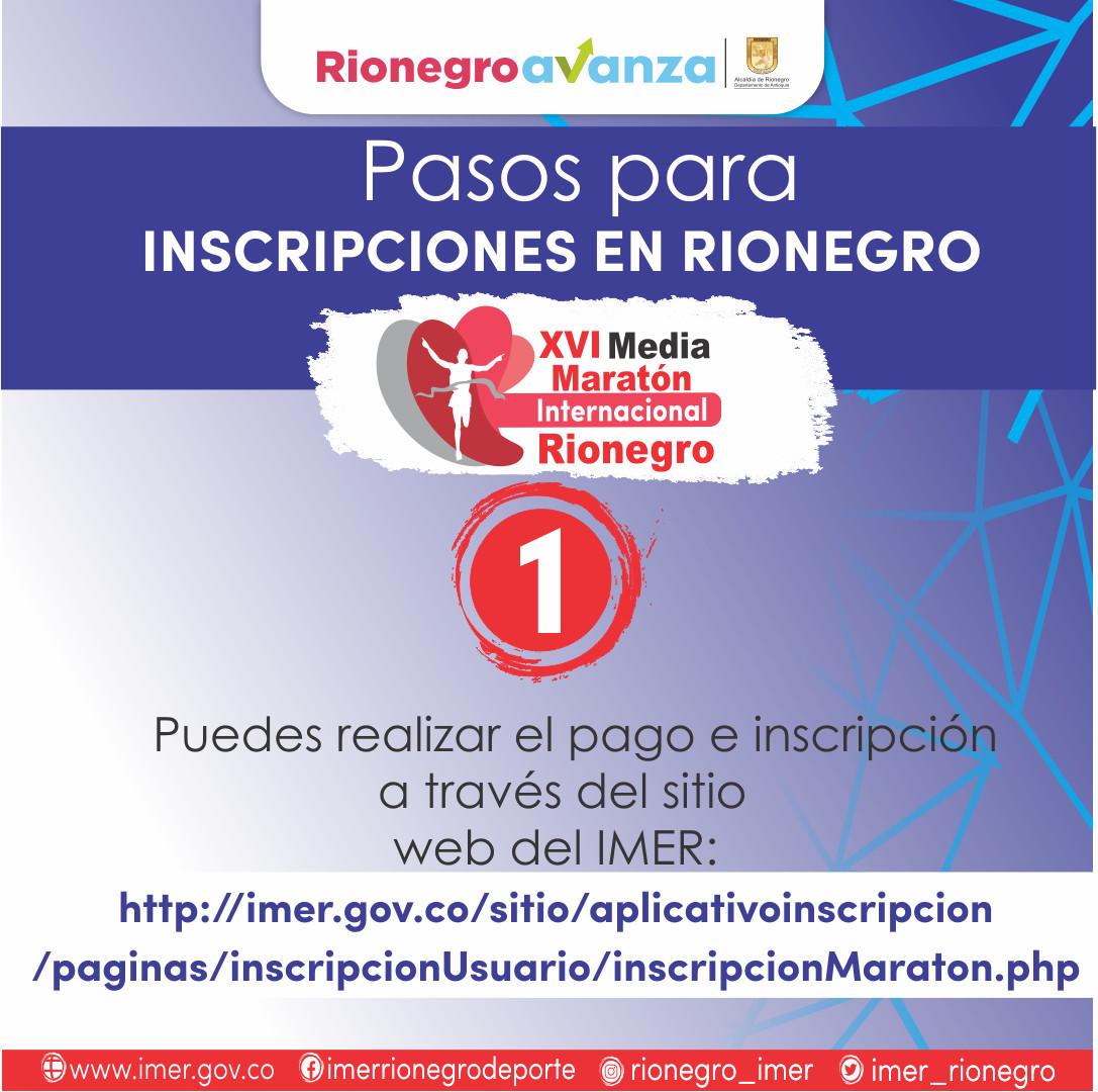 IMER FACILITA LAS INSCRIPCIONES PARA LA XVI MEDIA MARATÓN INTERNACIONAL DE RIONEGRO